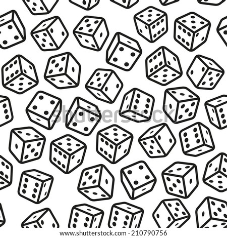 Gambling Dices Seamless Pattern on White Background.  Illustration - stock photo