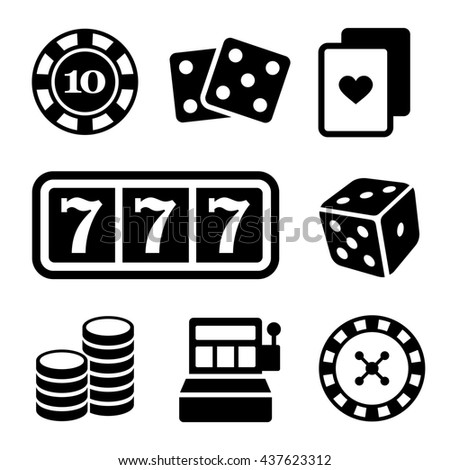 Gambling Icons Set on White Background. illustration