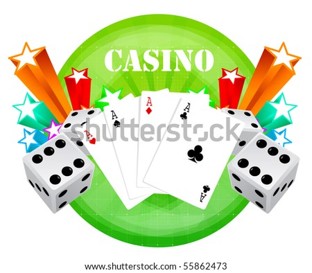 gambling illustration with casino elements - stock photo