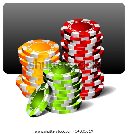 gambling illustration with poker chips (raster format)