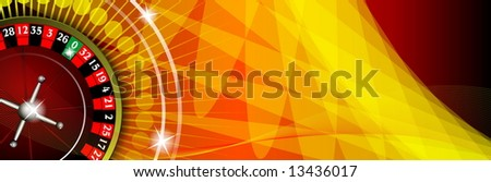 gambling illustration with roulette on red background - stock photo