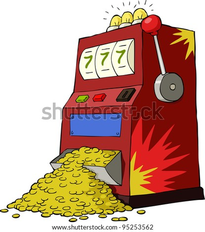 Gambling machine on a white background, raster