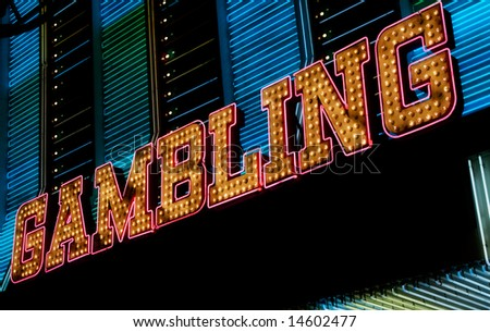 Gambling neon sign, Las Vegas - stock photo