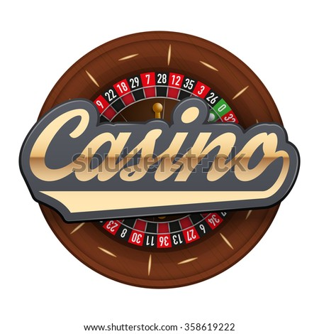 Gambling roulette wheel with Casino tag.  illustration isolated on white background. - stock photo