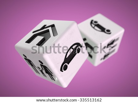 Gambling with your family, car and house. Rolling the dice, taking a chance on loosing everything you own or unsure of the correct financial decisions to make in life and how to get advice to decide. - stock photo
