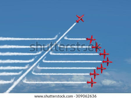 Game changer business or political change concept and disruptive innovation symbol and be an independent thinker with new ideas as an individual jet breaking through a group of airplane smoke. - stock photo