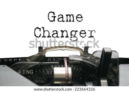 Game changer on typewriter - stock photo