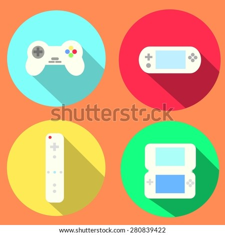 Game Console and Portable Game Icons - stock photo