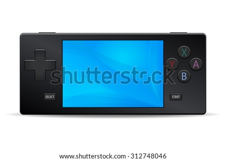 Game console portable black icon isolated on white background. Multimedia Video or Computer Games illustration - stock photo