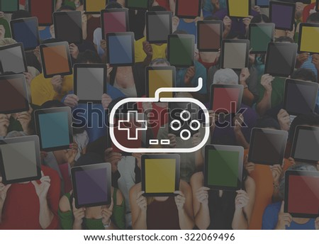 Game Controller Control Leisure Fun Technology Joystick Concept - stock photo