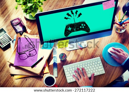 Game Controller Joystick Console Control Concept - stock photo
