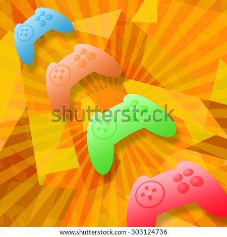 Game controllers in cyberspace - stock photo