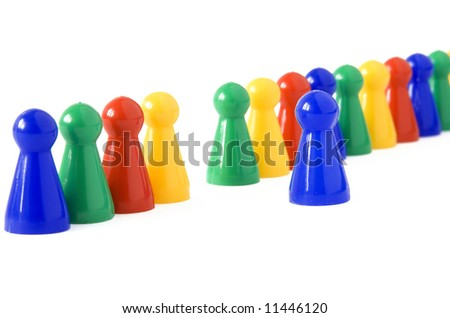 Game figurine in front of others symbolizing the concept of stepping out, stepping in front