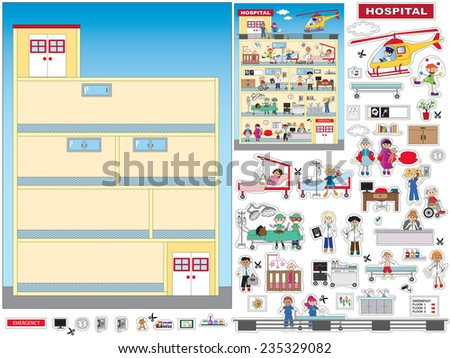 game for children: cut and paste the hospital - stock photo