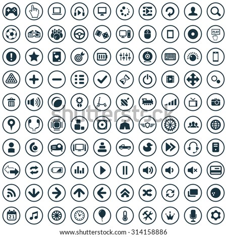 game 100 icons universal set for web and mobile