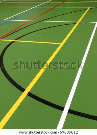 Game markings on floor of sports hall