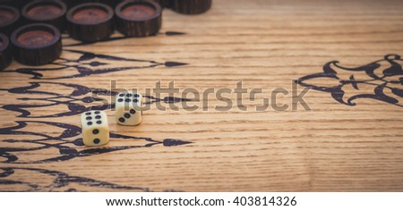 Game of backgammon. Dice - stock photo