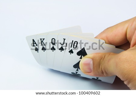 game of cards with poker of Royal Flush - stock photo