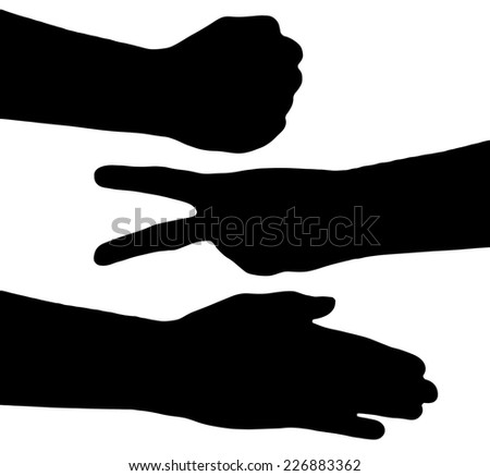 Game rock scissors paper black silhouette - stock photo