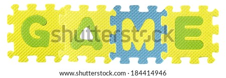 Game word created from Alphabet puzzle isloated on white background , with clipping path. - stock photo