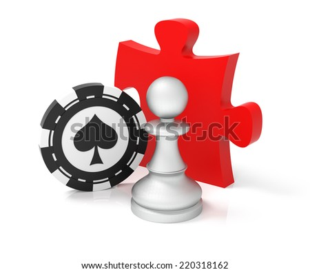 Games. Digitally Generated Image. Isolated On White - stock photo