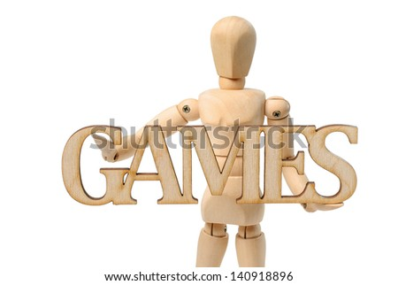 Games Wooden sign and Wooden mannequin   - isolated on white background - stock photo