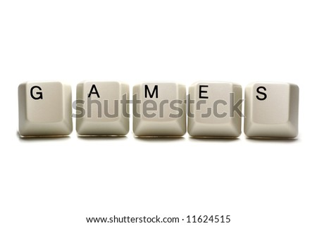 games written with computer keys, isolated on white