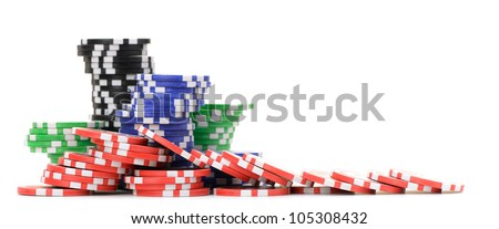 Gaming chips. Isolated on white background - stock photo