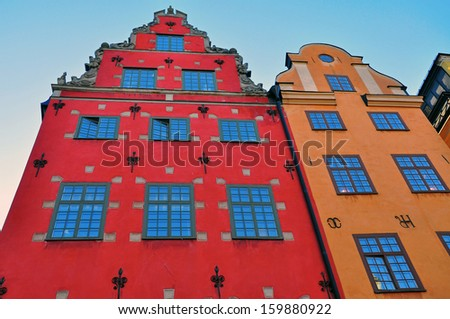 Gamla Stan decorated houses, Stockholm, Sweden. - stock photo