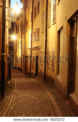 gamla stan - the old city of stockholm - stock photo