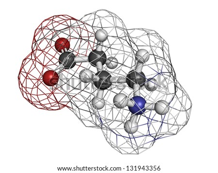 gamma-aminobutyric (GABA) neurotransmitter, molecular model. Atoms are represented as spheres with conventional color coding: hydrogen (white), carbon (grey), oxygen (red), nitrogen (blue) - stock photo