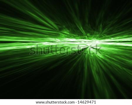 Gamma Green aerial explosion - fractal design - stock photo