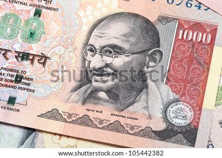 Gandhi on thousand rupee note - stock photo