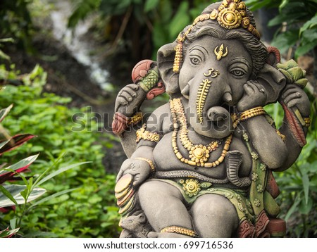 Ganesh Statue God Of Immortality , Standing In The Garden