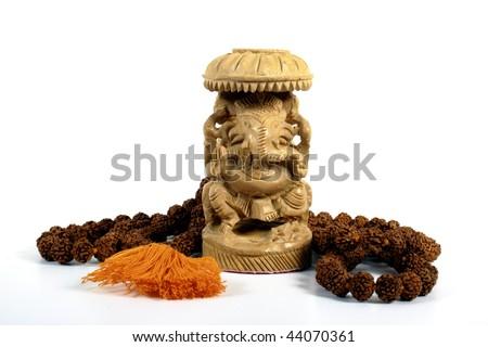 Ganesha with Prayer Beads - stock photo