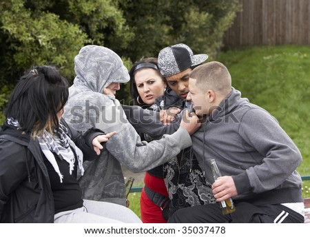 Gang Of Youths Fighting - stock photo