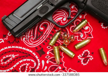 Gang Violence Concept Bullets Gun On Stock Photo Royalty Free