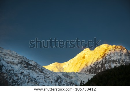 Gangapurna view in sunrise in Himalayas from Manang - stock photo