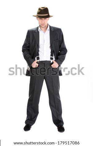 gangster counting money. isolated on white background - stock photo