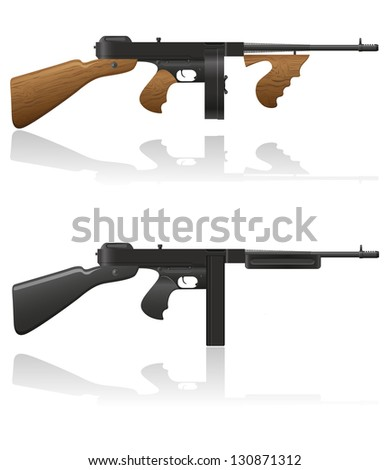 gangster gun Thompson illustration isolated on white background - stock photo