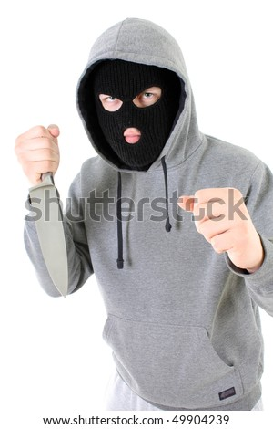 Gangster in black mask with knife - stock photo