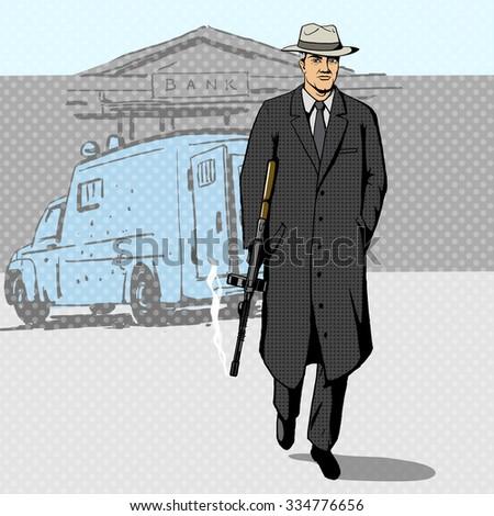 Gangster man with a gun walking from bank pop art retro style  raster illustration. Comic book imitation - stock photo