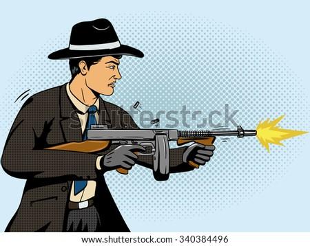 Gangster shoots machine gun pop art retro style raster illustration. Comic book imitation - stock photo