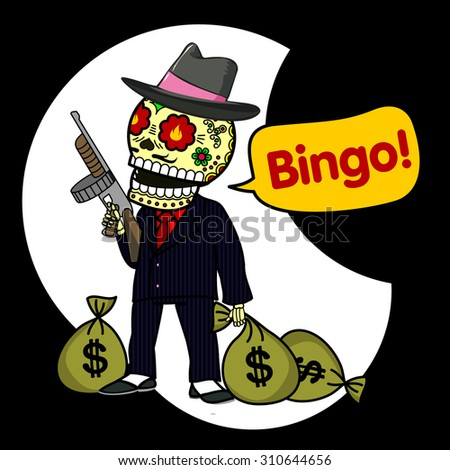 Gangster with a smoking gun and bags of money - stock photo