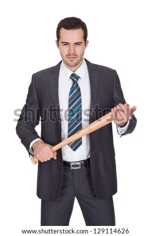 Gangster with baseball bat. Isolated on white - stock photo