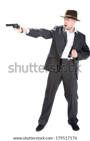 Gangster with guns isolated on white background
