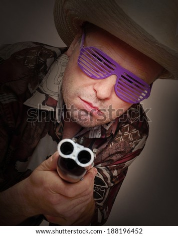 Gangster with shotgun aimed at you. Legal defense and gun control concept.  - stock photo