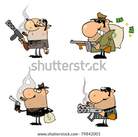 Gangsters Cartoon Characters-Raster Collection - stock photo