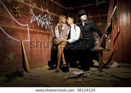 gangsters in the room - stock photo