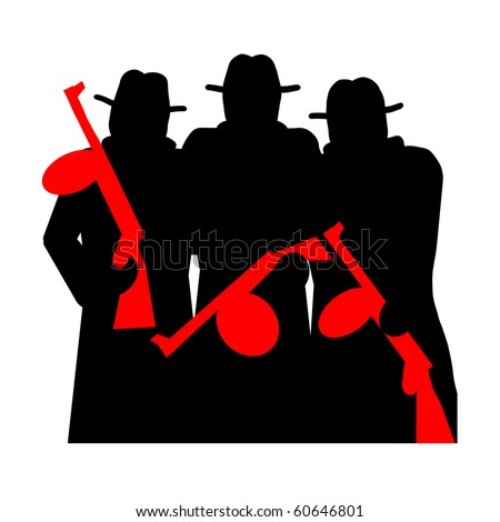 Gangsters with Gun, silhouette isolated over white background - stock photo